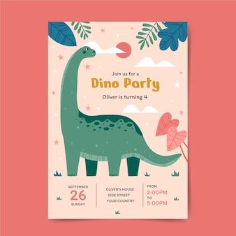 Flache design-dinosaurier-geburtstagseinladung