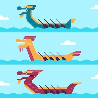 Flache design drachenboot sammlung
