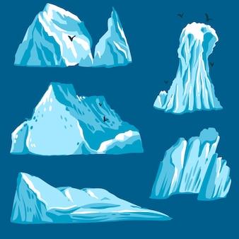 Flache design-eisberg-sammlung