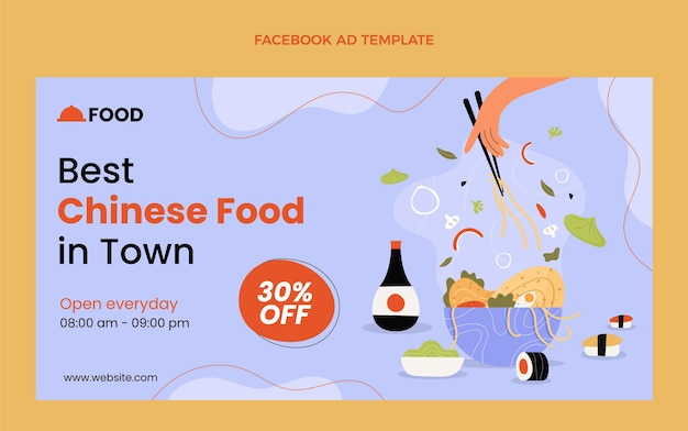 Flache design-facebook-anzeige für lebensmittel