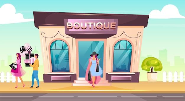 Flache design-farbillustration der vorderen boutique