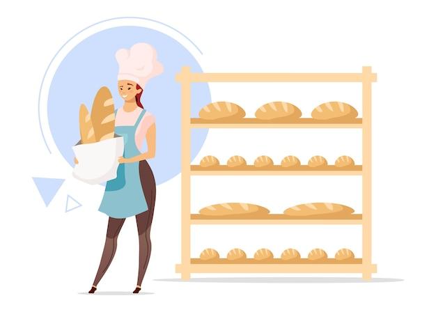 Flache design-farbillustration des weiblichen bäckers