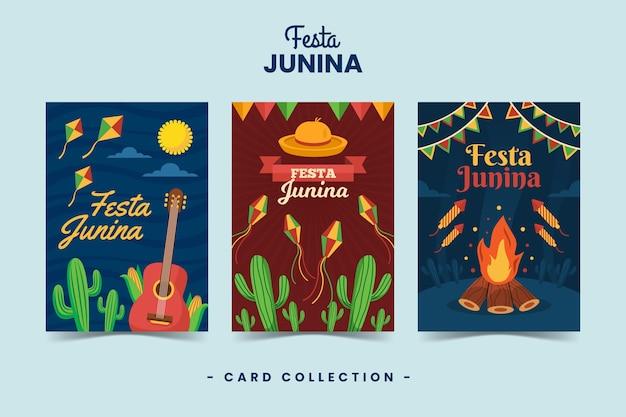Flache design festa junina kartensammelschablone