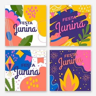 Flache design festa junina kartensammlung