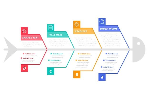 Flache design-fischgräten-infografik