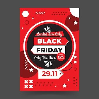 Flache design-flyer-vorlage für schwarzen freitag im memphis-stil