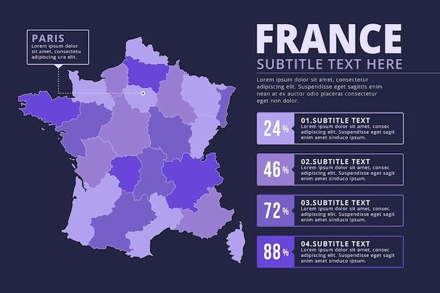 Flache design frankreich karte infografik