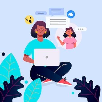 Flache design-freunde, die auf laptop-illustration aufrufen