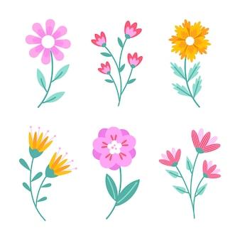 Flache design-frühlingsblumensammlung