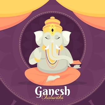 Flache design ganesh chaturthi illustration