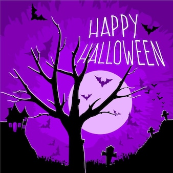 Flache design-grunge-halloween-tapete