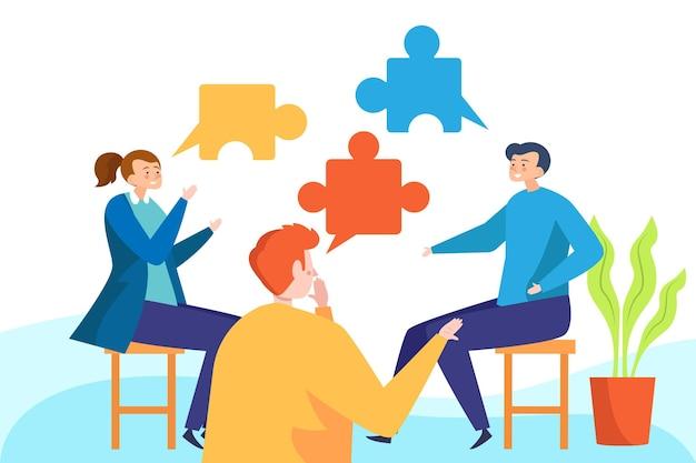 Flache design-gruppentherapie mit puzzleteilen