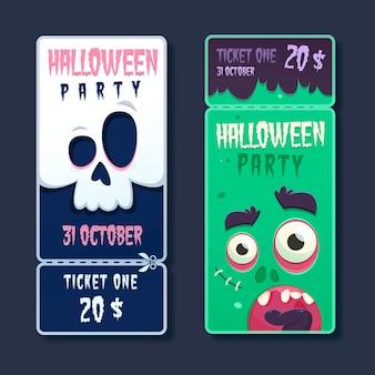 Flache design gruselige halloween-tickets