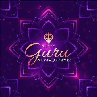 Flache design-guru-nanak-jayanti-lotusblume