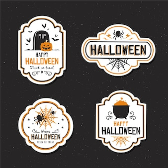 Flache design halloween abzeichen sammlung