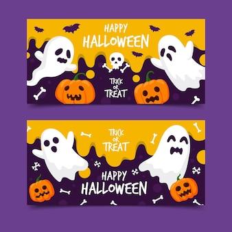 Flache design halloween banner gesetzt