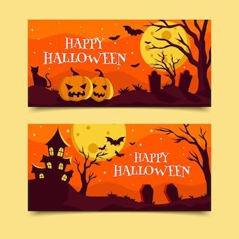 Flache design halloween banner sammlung