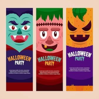 Flache design halloween banner vorlage