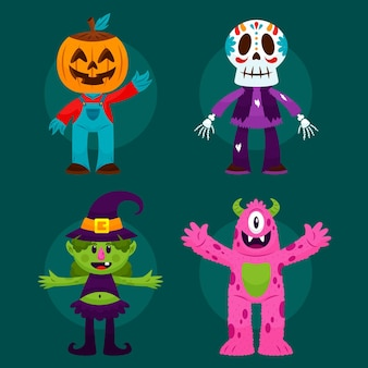 Flache design-halloween-charaktersammlung