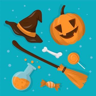 Flache design halloween elemente sammlung
