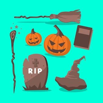 Flache design-halloween-elemente