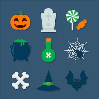 Flache design-halloween-elementkollektion