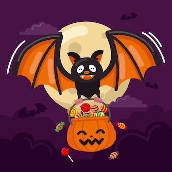 Flache design-halloween-fledermaus, die süßigkeitstüte hält