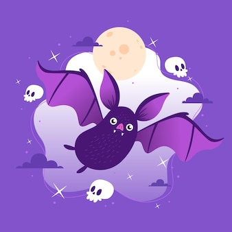 Flache design halloween fledermaus