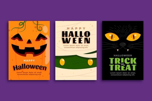 Flache design-halloween-kartensammlung