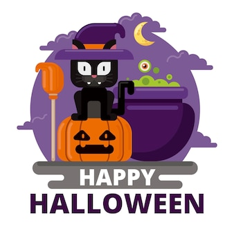 Flache design-halloween-katze, die hut trägt