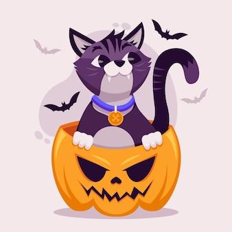 Flache design-halloween-katze im kürbis
