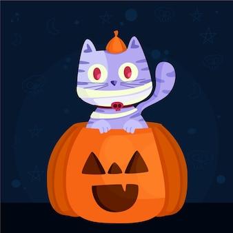 Flache design-halloween-katze mit kürbis