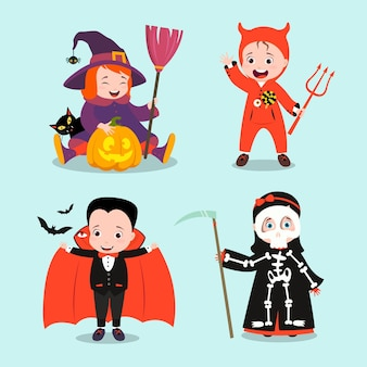 Flache design halloween kinderkollektion