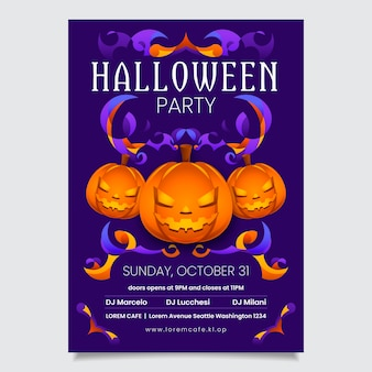 Flache design halloween kürbis poster