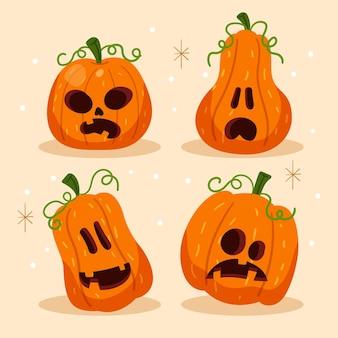 Flache design-halloween-kürbiskollektion