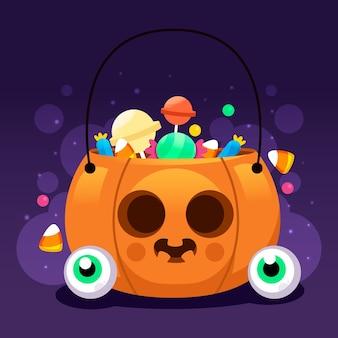 Flache design halloween kürbistasche