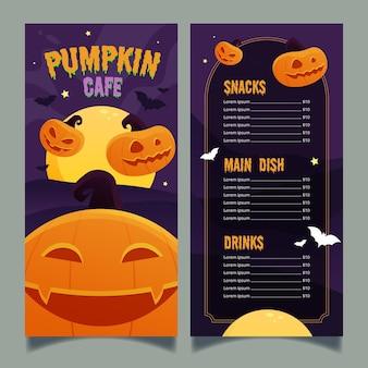 Flache design halloween-menüvorlage