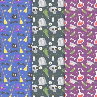 Flache design-halloween-musterkollektion