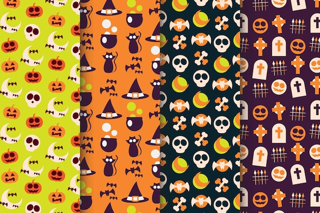 Flache design-halloween-musterkollektion
