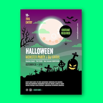 Flache design halloween party poster vorlage