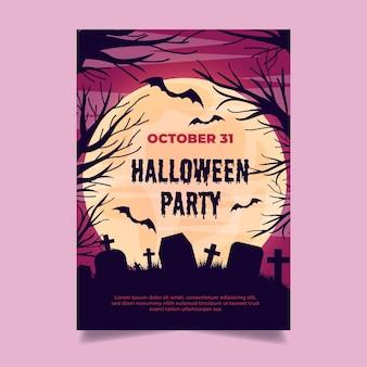 Flache design halloween party poster vorlage