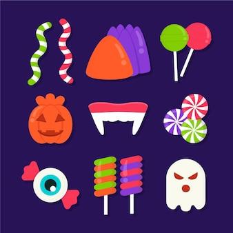 Flache design halloween süßigkeiten sammlung