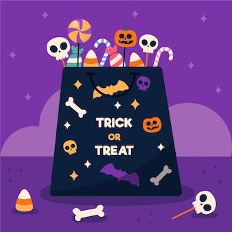 Flache design halloween süßigkeiten tasche