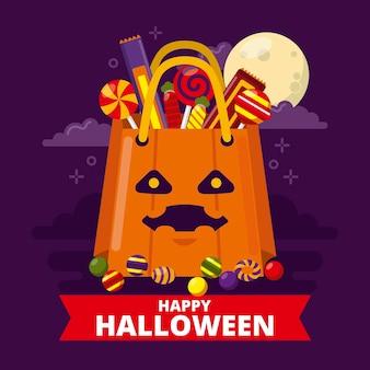 Flache design-halloween-tasche mit süßigkeiten