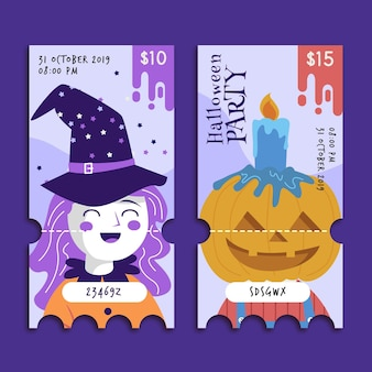 Flache design halloween tickets vorlage