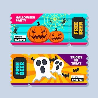 Flache design-halloween-tickets