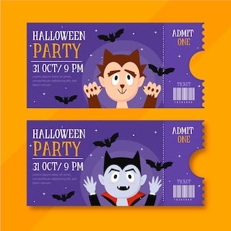 Flache design-halloween-tickets