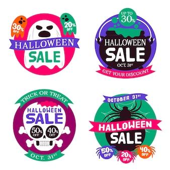 Flache design halloween verkauf abzeichen sammlung