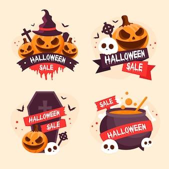 Flache design halloween-verkauf abzeichen sammlung