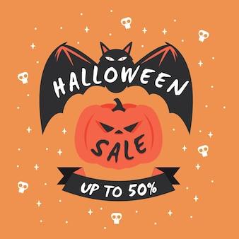 Flache design halloween-verkaufsförderung illustriert